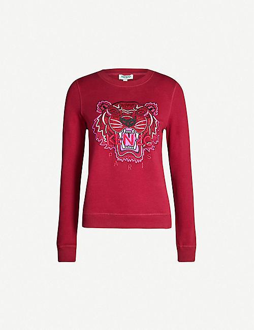 aa8ddc2e KENZO Tiger-motif cotton-jersey sweatshirt