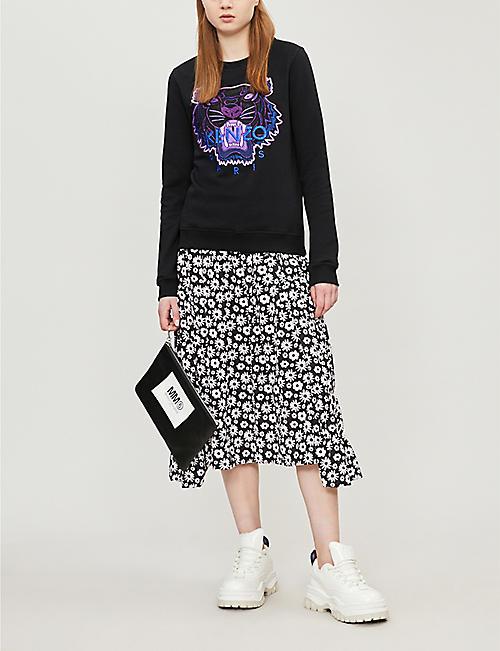 9f5f8f06 KENZO Tiger-embroidered cotton-jersey sweatshirt