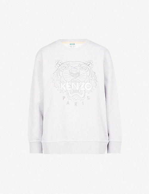 918a1f1b KENZO Tiger-embroidered cotton-jersey sweatshirt