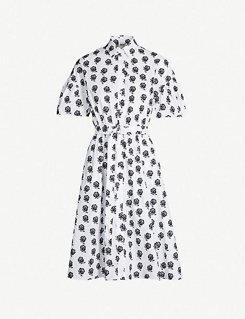 0242e6fb530cca KENZO Floral-pattern cotton-poplin shirt dress