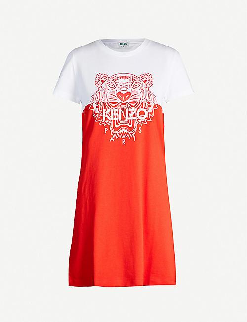 b3a2fdb94 KENZO Actua colour-blocked cotton-jersey T-shirt dress