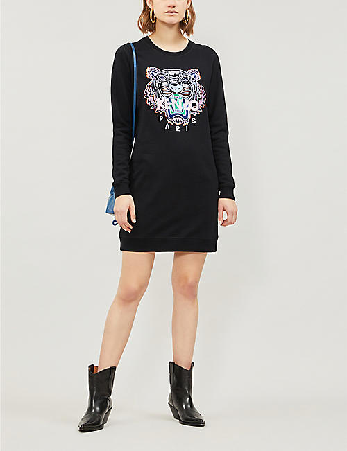 934b913b3 KENZO Embroidered Tiger cotton-jersey sweatshirt dress