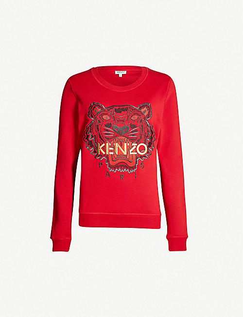 KENZO Chinese New Year Tiger-embroidered cotton-jersey sweatshirt. Quick  view Wish list 753f0921e935