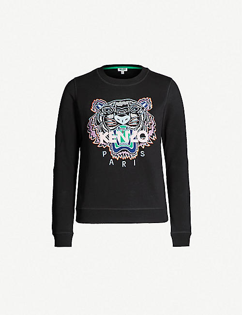 53d695e99f6 KENZO Tiger-embroidered cotton-jersey sweatshirt