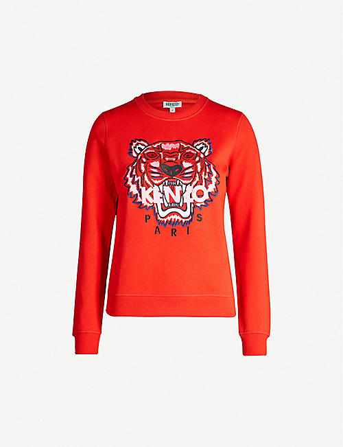 93696f285 KENZO Tiger logo-print cotton-jersey sweatshirt