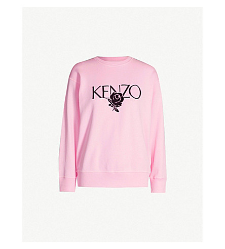b8d3cd46ff KENZO - Logo-embroidered cotton-jersey sweatshirt | Selfridges.com