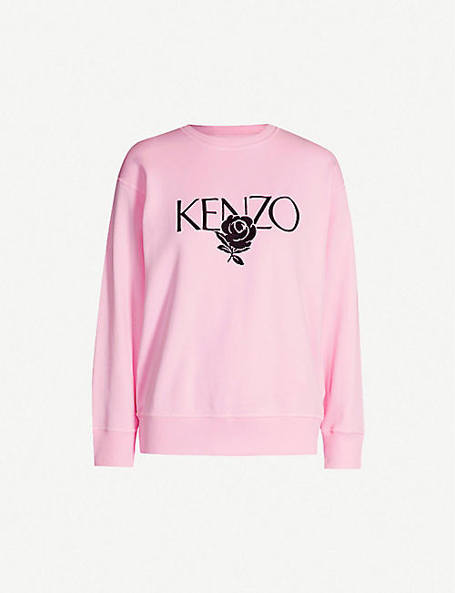 c3a90227 KENZO Logo-embroidered cotton-jersey sweatshirt