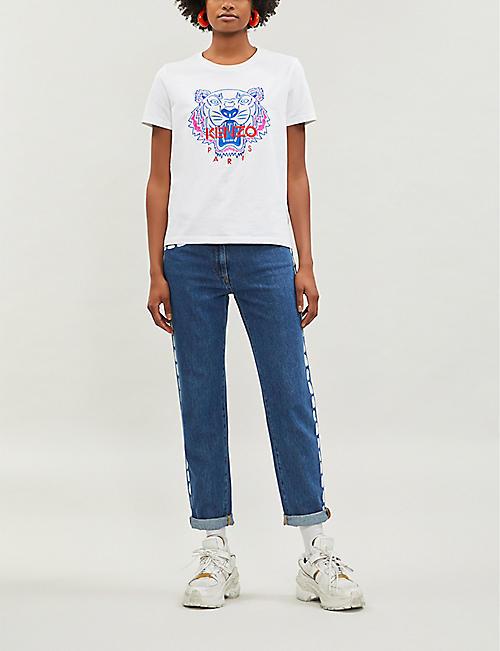 359ce3f2e KENZO Tiger logo-print cotton-jersey T-shirt · Quick Shop
