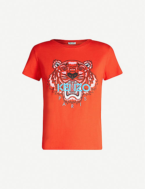 be59573c KENZO Tiger logo-print cotton-jersey T-shirt