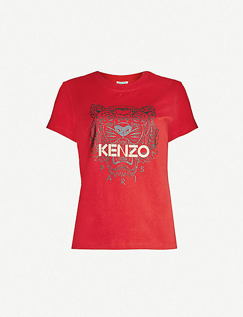 KENZO Chinese New Year Tiger-embroidered cotton-jersey T-shirt 6460d8eb18c