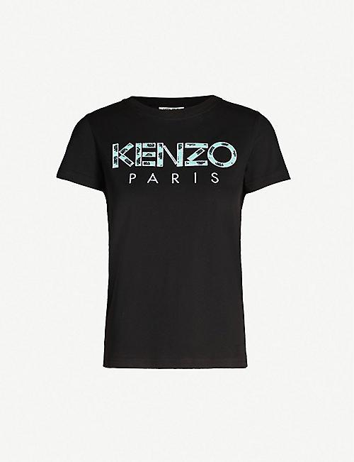 d9e3a073 KENZO Logo-embroidered cotton-jersey T-shirt