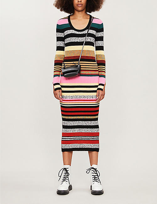 KENZO Striped knitted midi dress
