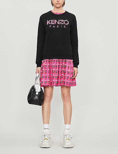 KENZO Peonie applique cotton-jersey sweatshirt