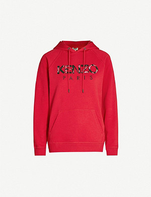 KENZO Floral logo-appliqué cotton-blend hoody