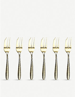 ARTHUR PRICE: Champagne Mirage stainless steel pastry fork 6-piece set