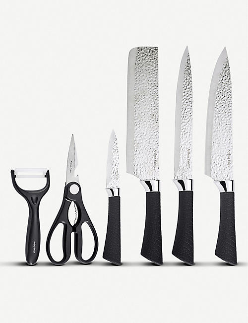 ARTHUR PRICE Hammered stainless steel knife and cutlery set of six