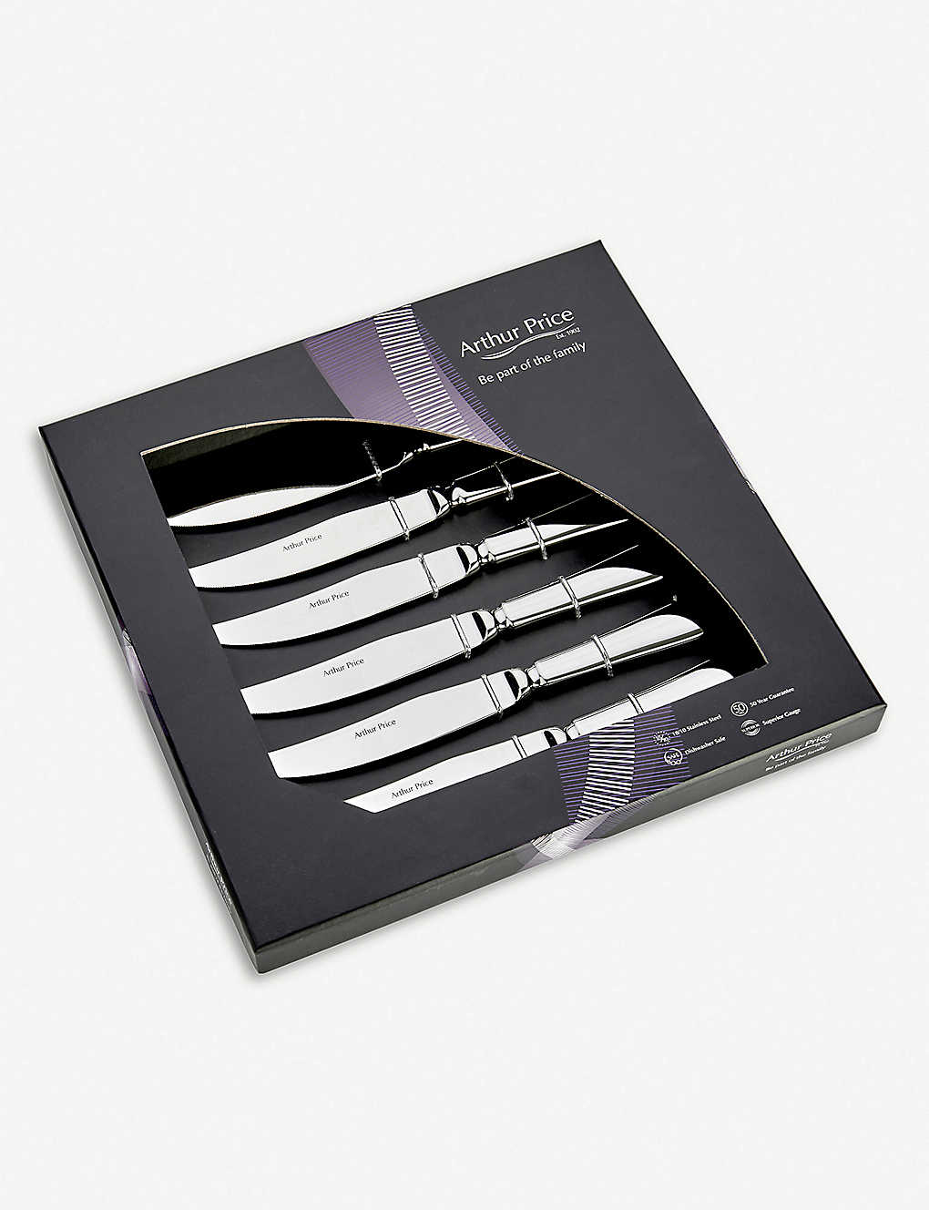 ARTHUR PRICE: Georgian stainless steel steak knives set of 6