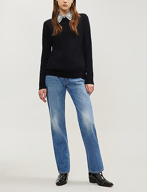 CLAUDIE PIERLOT Miracle embellished-collar wool jumper
