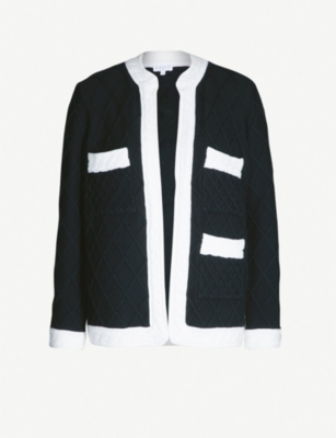 CLAUDIE PIERLOT Monceau diamond-pattern wool and cotton-blend cardigan