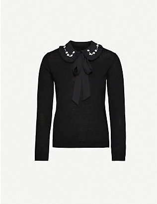CLAUDIE PIERLOT: Mignon embellished-collar wool jumper