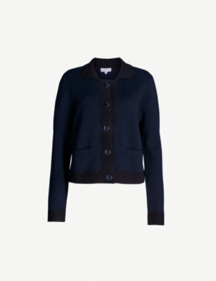 CLAUDIE PIERLOT Milano scallop-edged cotton-cashmere cardigan
