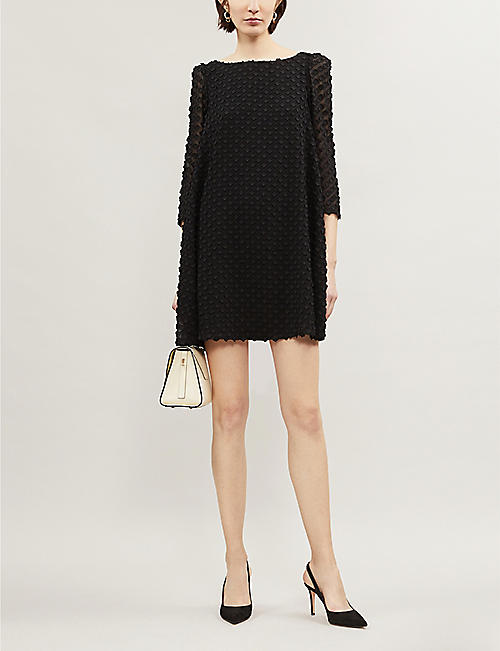 CLAUDIE PIERLOT Floral-embroidered woven shift dress