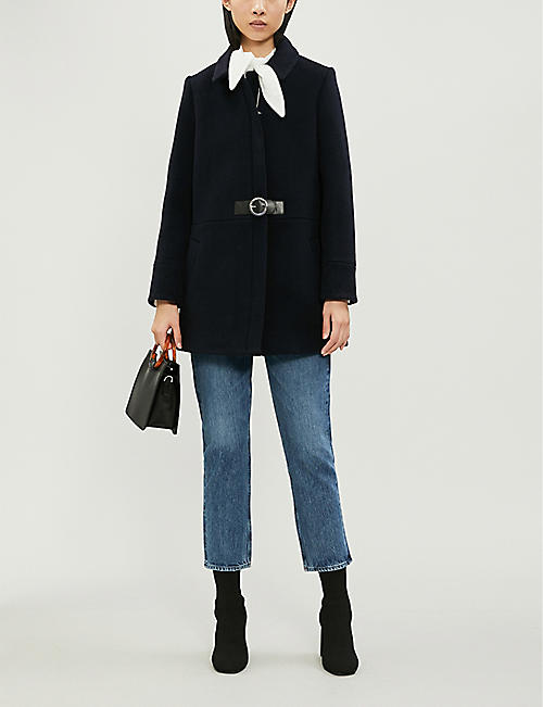 CLAUDIE PIERLOT Gingembre belted wool-blend coat