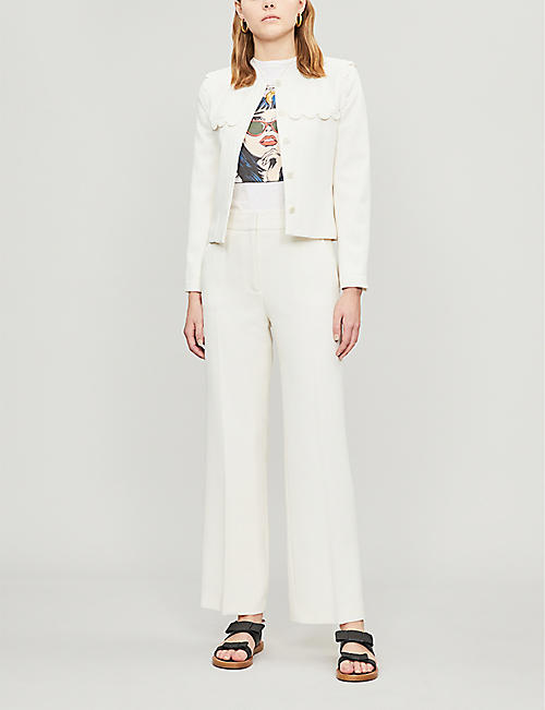 CLAUDIE PIERLOT High-rise wide cotton-twill trousers