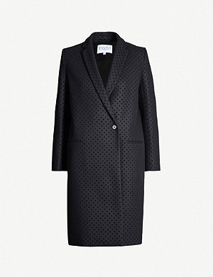 CLAUDIE PIERLOT Velvet polka-dot single-breasted wool-blend coat