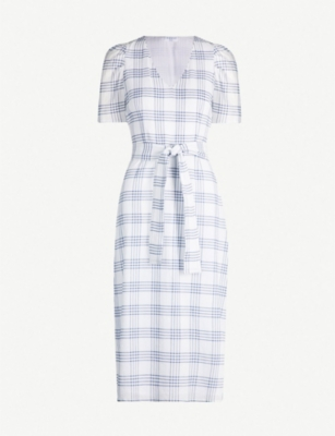 CLAUDIE PIERLOT Checked V-neck short-sleeved stretch-cotton dress