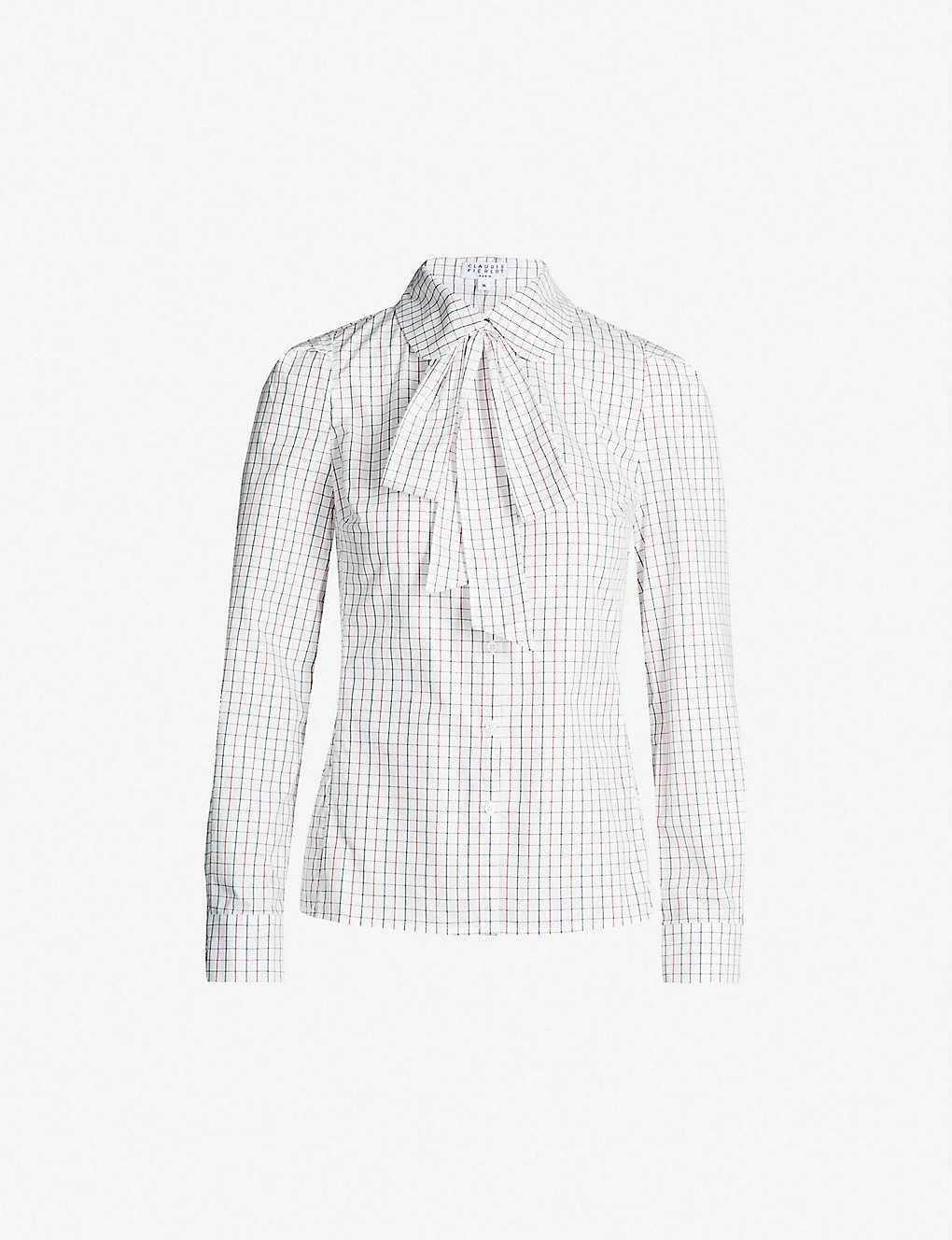 9da7233104f4a5 CLAUDIE PIERLOT - Caramel pussy-bow cotton shirt | Selfridges.com