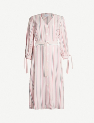CLAUDIE PIERLOT Raissa cuff-tie striped woven dress