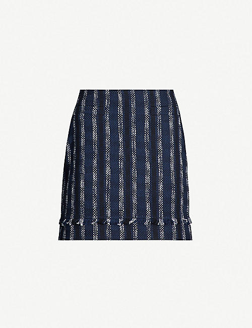 5924c3a69b CLAUDIE PIERLOT Seven contrast-stripe checked tweed skirt