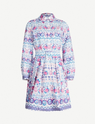 CLAUDIE PIERLOT Ralto floral-print belted cotton-woven dress