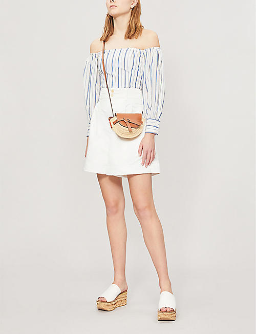 CLAUDIE PIERLOT Breskia striped lyocell and linen-blend top