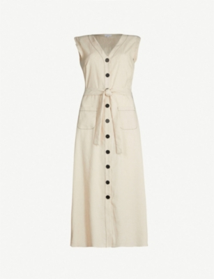 CLAUDIE PIERLOT Contrast-stitch linen-blend dress