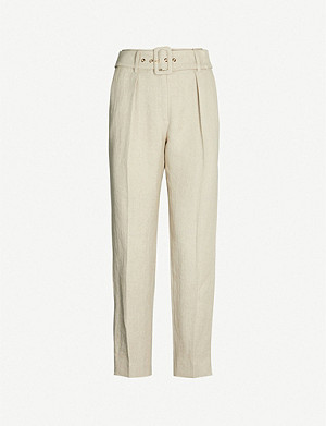 CLAUDIE PIERLOT Palais belted high-rise tapered linen trousers