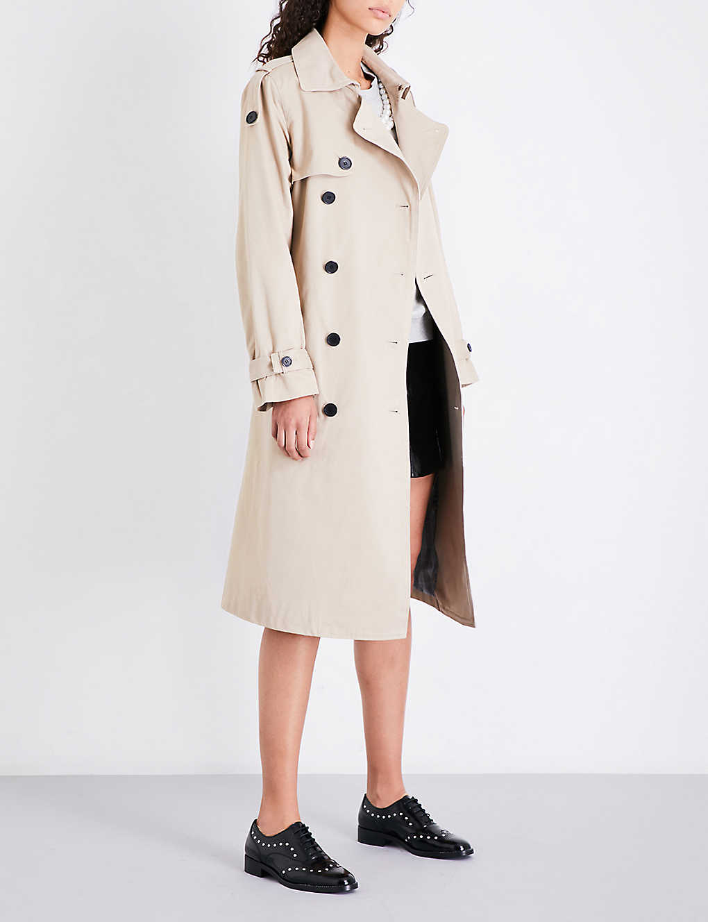 CLAUDIE PIERLOT: Double-breasted cotton-twill trench coat