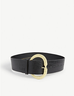 CLAUDIE PIERLOT: Aserpenth crocodile-embossed leather belt