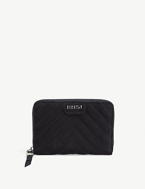 CLAUDIE PIERLOT Answer quilted suede leather purse