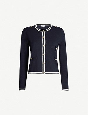 CLAUDIE PIERLOT Stripe-trimmed knitted cardigan
