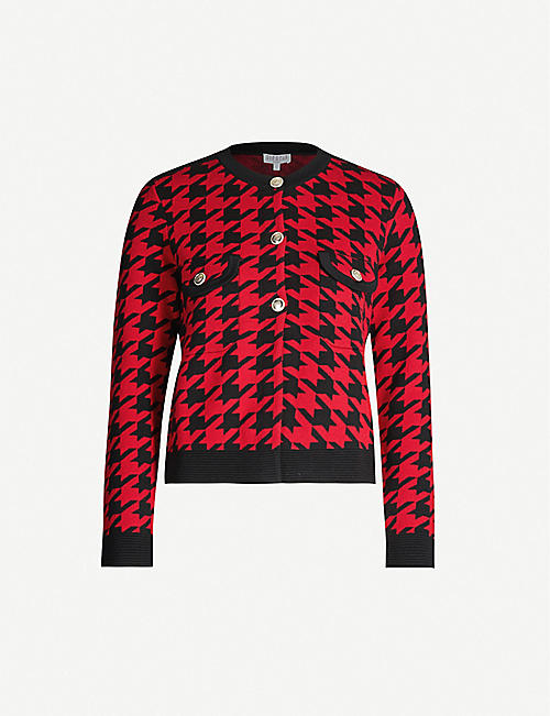 CLAUDIE PIERLOT Monmaille houndstooth cotton-blend cardigan