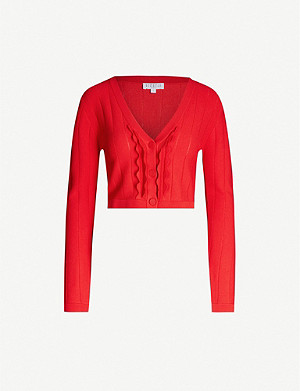 CLAUDIE PIERLOT Frill-detail stretch-knit cardigan