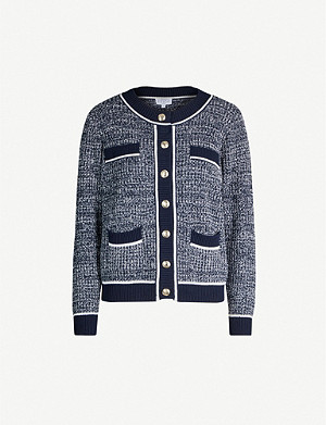 CLAUDIE PIERLOT Marcy rib-trimmed cotton-blend cardigan