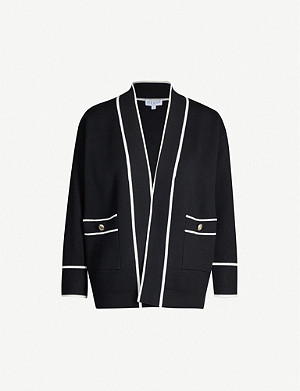 CLAUDIE PIERLOT Contrast-trim dropped-shoulder knitted cardigan