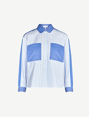 CLAUDIE PIERLOT Chorish colour-blocked cotton-poplin shirt