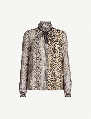 CLAUDIE PIERLOT Centaure mixed-print high-neck crepe shirt