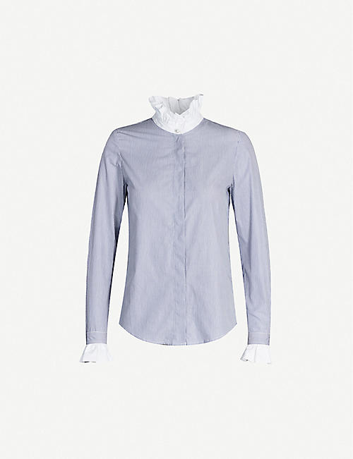 CLAUDIE PIERLOT Rayee striped cotton-poplin shirt