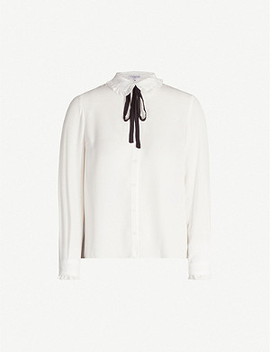 CLAUDIE PIERLOT Ruffled-trim crepe blouse