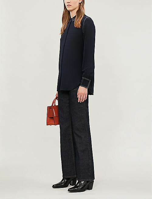 CLAUDIE PIERLOT Contrast-stitch silk-crepe shirt